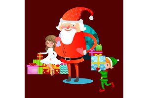 santa claus in red hat with beard sits on chair with hare in hand which makes wish, elf and magic fairy with golden wings helps and prepares gifts, marry of christmas and happy new year vector illustration