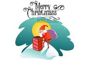 Santa Claus man in red suit and beard with bag of gifts behind him climbs into chimney, marry of christmas and happy new year vector illustration on white background card