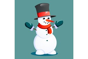Snowman in black hat and gloves, red scarf tied around neck, nose from the carrot, marry christmas happy new year vector illustration