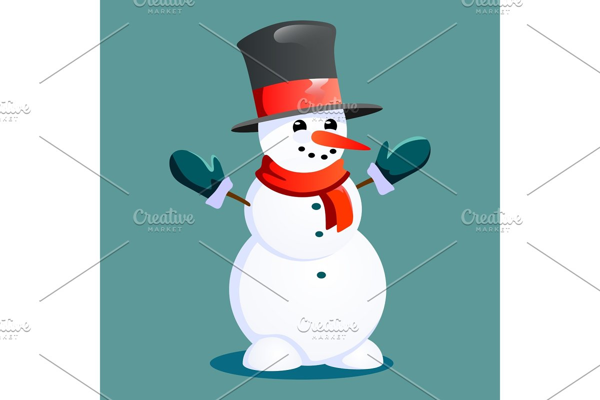 b909c8c0098d0 Snowman in black hat and gloves