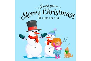 Family of snowman in black hat and gloves, red scarf tied around neck, nose from the carrot, little girl singing holiday songs and dog helping her, marry christmas happy new year vector illustration