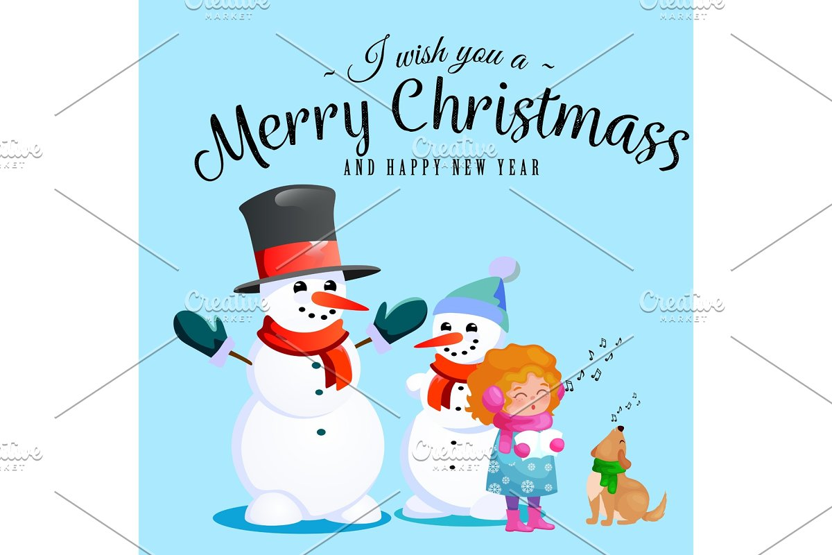 1e7d357f65cf6 Family of snowman in black hat and gloves