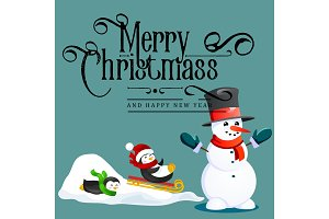 Snowman in black hat and gloves, red scarf tied around neck, nose from the carrot, penguins ride from snow hill on sleigh, marry christmas happy new year vector illustration