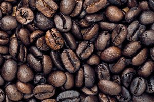 Coffee Beans Background. Close Up