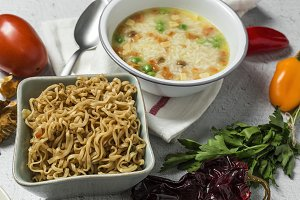 Noodles with vegetables. Typical Asi