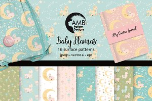 Baby Llama vector patterns AMB-2267