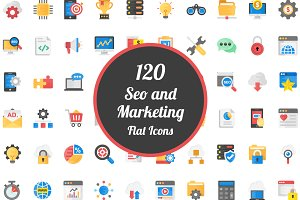 120 Flat Icons on SEO and Marketing
