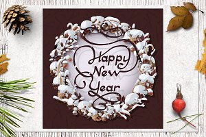 ❄ vector Happy New Year card