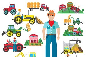 Farm tractor driver icons set flat