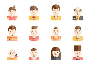 Man faces collection flat icons set