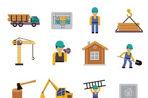 Construction icon flat set