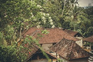 Balineese roofs in the rainforest close to volcano Agung, Bali island, Indonesia.