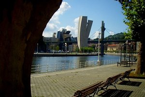 Benches facing the Ria of Bilbao