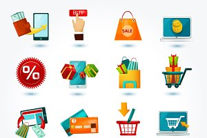 E-commerce online icons set