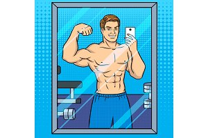 Body builder makes selfie in the mirror pop art
