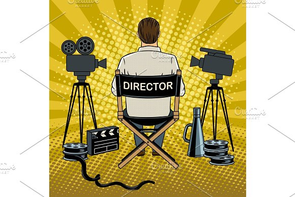 Stage Director On Set Pop Art Vector Illustration