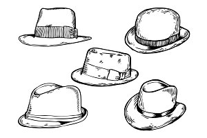 Hats engraving vector illustration