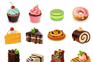 Cakes and sweets icons set