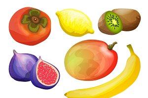 Exotic fruits decorative icons set