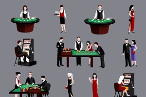 People in casino flat icons set