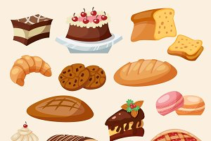 Flat icon pastry and sweets set