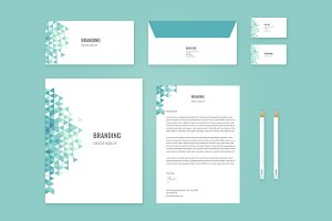 Brand Identity Set: Teal Triangles