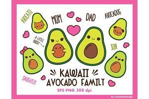 Kawaii avocado family