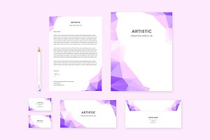 Brand Identity Set: Polygon Purple