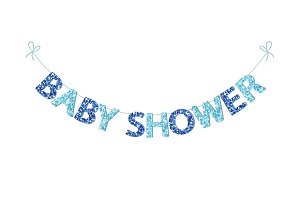 Cute festive vintage bunting for baby shower with beautiful glitter letters