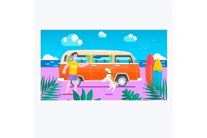 Summer time.Surf van on the beach.Summer holiday sunset beach scene tropical paradise vacation on coast surfboards on sand vector.
