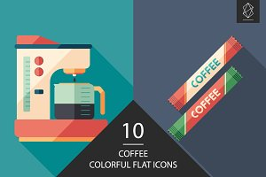 Coffee flat square icon set