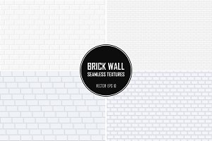 Brick wall seamless white textures