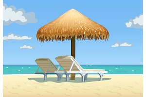 Ocean beach with umbrella and bed vector
