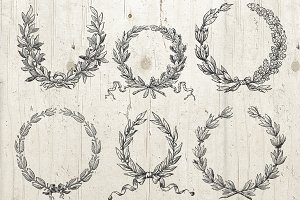 6 Wreath Laurel Graphics Bundle PNG