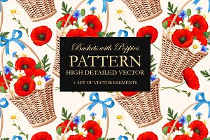 Pattern with Poppies
