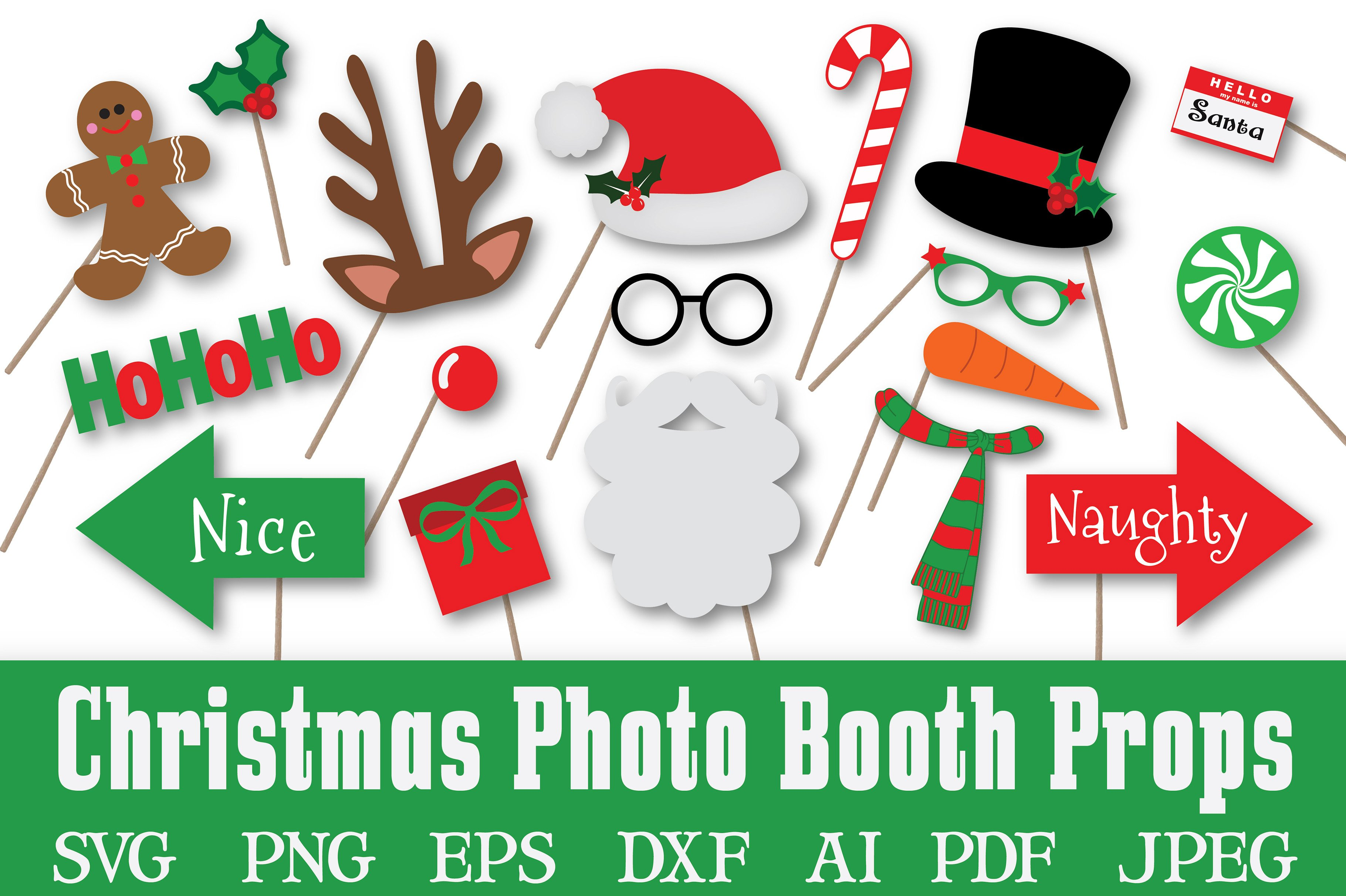 Christmas Photo Booth Props Svg Pre Designed Illustrator Graphics Creative Market