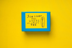 Blue box with concept card on yellow background