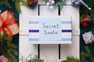 Secret Santa gift flat lay concept