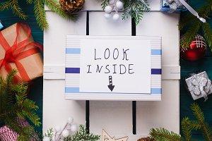 Surprise Secret gift flat lay concept