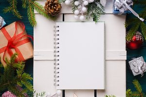 Christmas background with white blank page