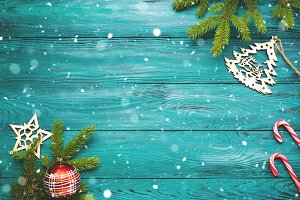 Christmas dark green wooden background