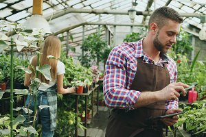 Young man working in garden center. Attractive guy check and count flowers using tablet computer during work in greenhouse