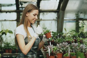 Young cheerful woman in apron and gloves gardening plants and loosen ground in flower in greenhouse