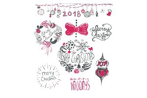 Merry Christmas hand drawn lettering set. Holidays design vector illustration.