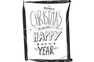 Merry Christmas hand drawn lettering card. Vector illustration for Holidays design.