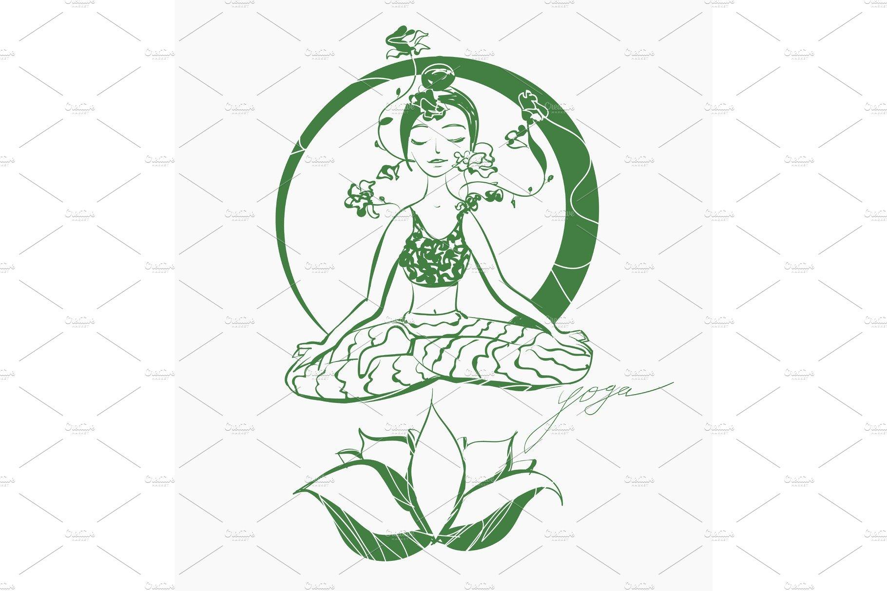 Vector Lotus Yoga Pose Hand Drawn Illustration Pre Designed Illustrator Graphics Creative Market
