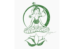 Vector lotus yoga pose hand drawn illustration.