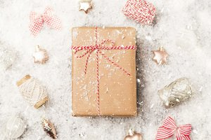 Christmas gift wrapped craft paper