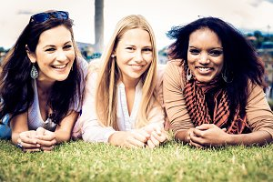 Three Young Women In The Park