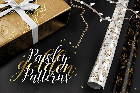 Paisley Golden Patterns-Graphicriver中文最全的素材分享平台